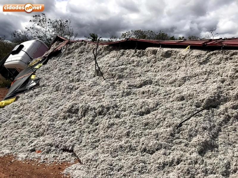 Carreta carregada com sementes de algodão tomba na ladeira do 'S' no Piauí