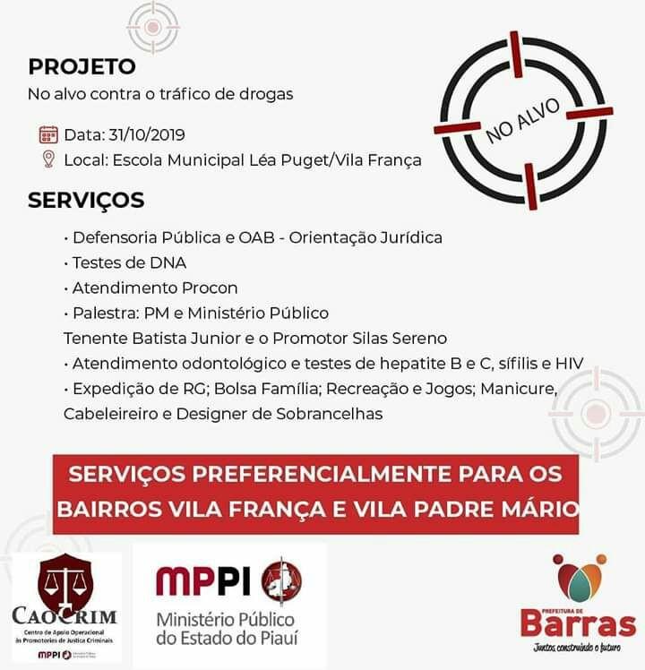 Projeto no alvo com dia de palestras e cidadania na Vila França em Barras PI