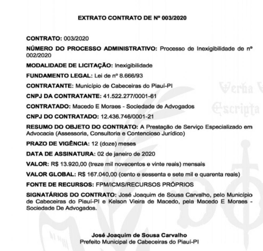 Prefeito de Cabeceiras contrata escritório de advocacia com valor global de R$ 167 mil