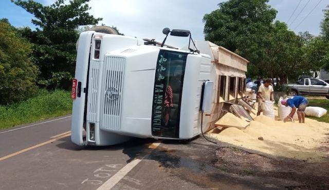 Caminhão carregado com ração tomba na BR-402, no litoral do Piauí