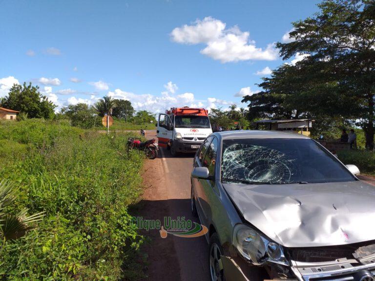Colisão entre carro e moto deixa duas pessoas feridas na PI 111 - Fotos: Clique União