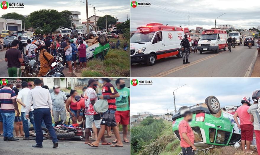 Motorista perde controle e carro atinge três motos deixando três pessoas feridas, no Piauí