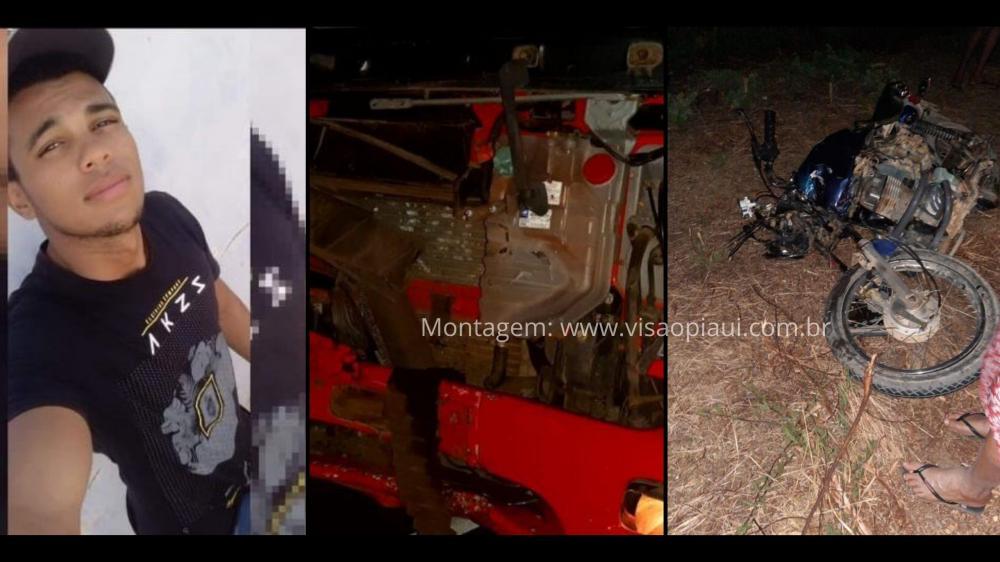 Jovem morre em grave acidente entre motocicleta e caminhão na BR-316