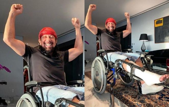 Bell Marques sofre acidente e publica foto em cadeira de rodas