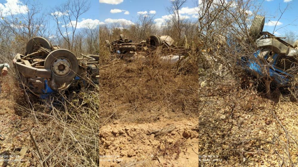 Caminhão capota na PI 243 e deixa motorista gravemente ferido