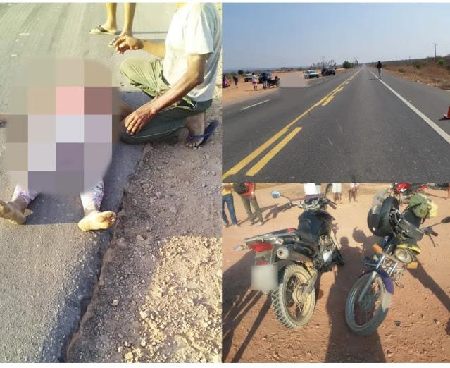 Mulher morre em colisão entre duas motocicletas na BR-135, no Sul do Piauí