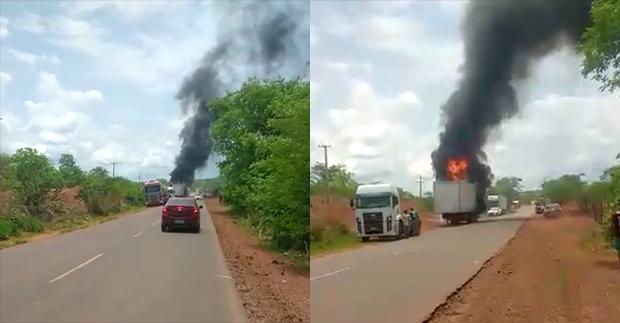 Caminhão carregado com óleo de soja pega fogo na BR-135 no Piauí