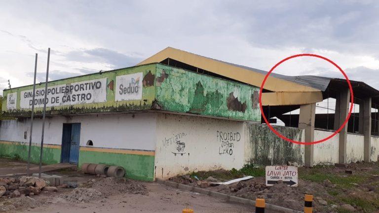 Ginásio de esportes tem estruturas danificadas após forte chuva em Esperantina