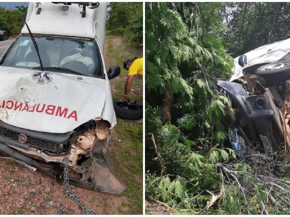 Ambulância tomba na BR-135, no Sul do Piauí, motorista fica ferido