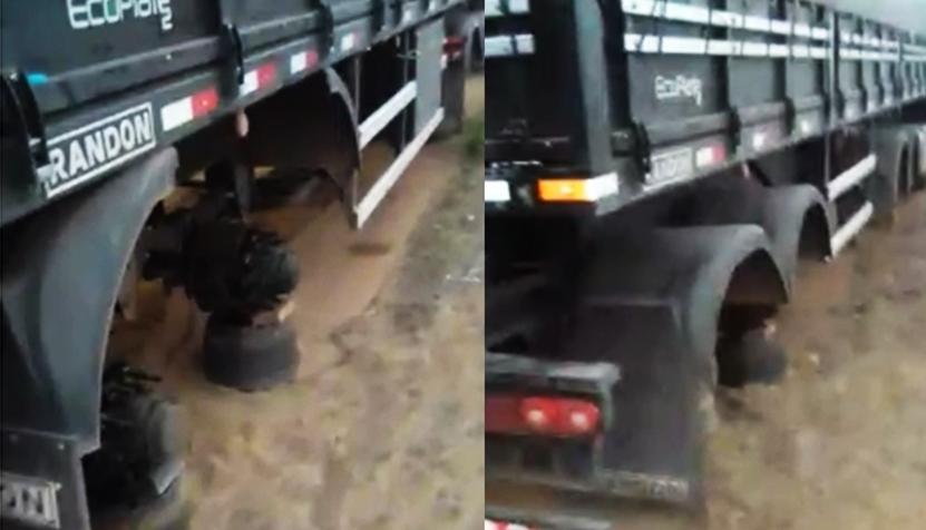 Caminhão é encontrado abandonado e sem os pneus no Piauí