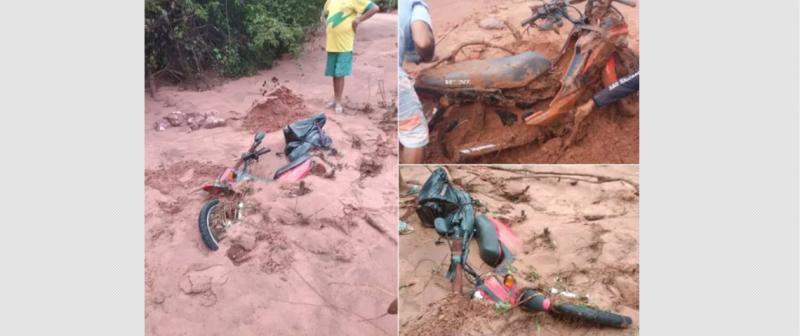 Empresário tem moto arrastada por enxurrada no Piauí; 'subi em uma pedra para escapar'
