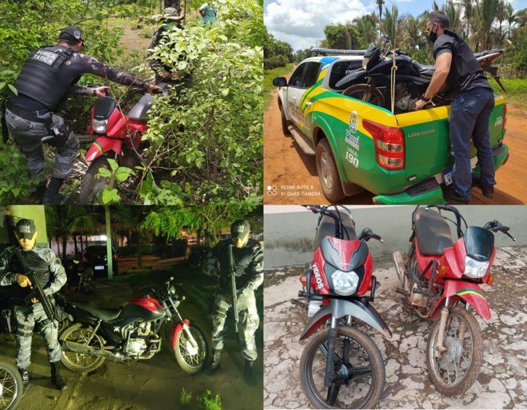 Polícia Militar recupera cinco motocicletas e suspeito são conduzidos à delegacia