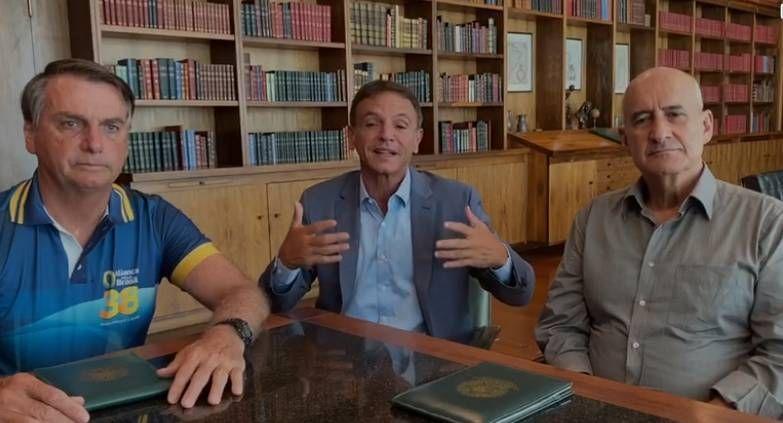 Bolsonaro, Bittar e Ramos, em encontro no Palácio da Alvorada - (Foto: Reprodução/Twitter)