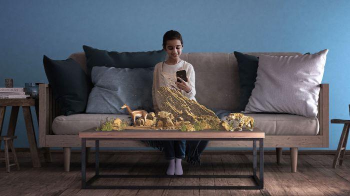 App permite que usuários vejam criaturas pré-históricas na sala de casa - (Foto: Divulgação/Alchemy Immersive)