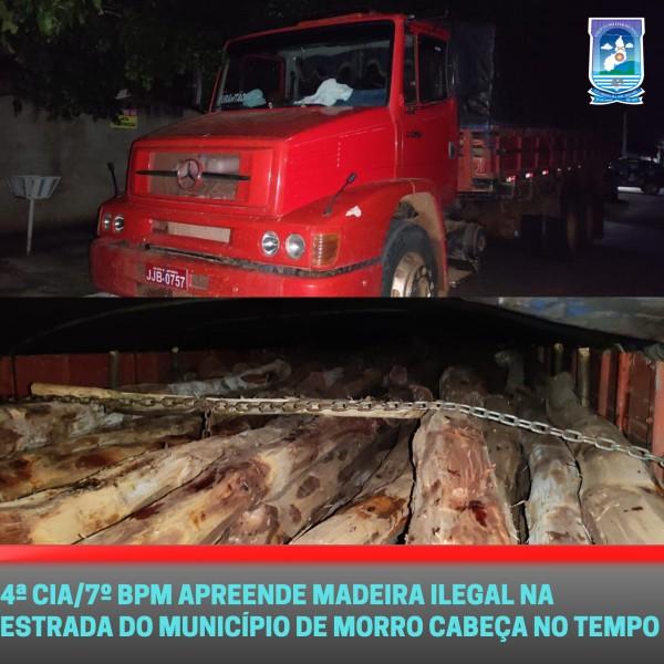 Polícia Militar apreende madeira ilegal no extremo sul do Piauí