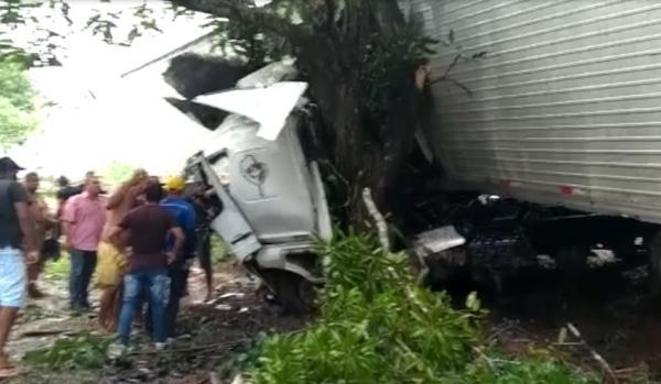 Motorista fica em estado grave após caminhão colidir com árvore na BR-135