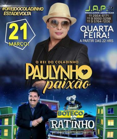 Cantor piauiense Paulynho Paixão estará no Boteco do Ratinho na quarta-feira(21)
