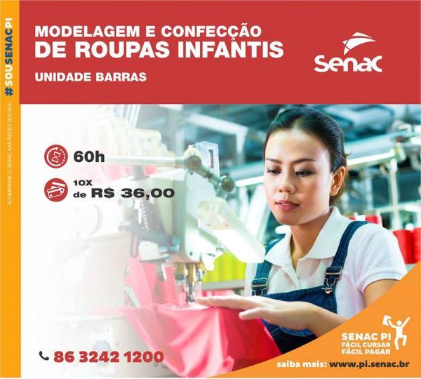 SENAC Barras abre matrículas para Curso de Modelagem e Confecção de roupas infantis