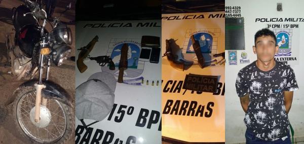 Homem é preso acusado de porte ilegal de armas, roubo de motos e celulares em Barras