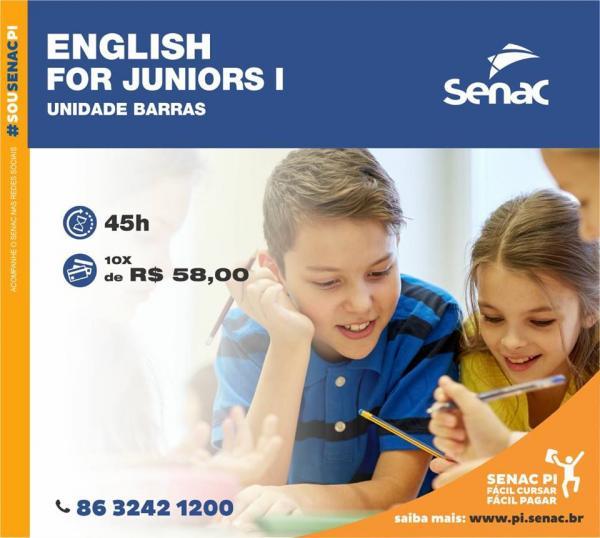 SENAC Barras abre inscrições para o Curso de ENGLISH FOR JUNIORS