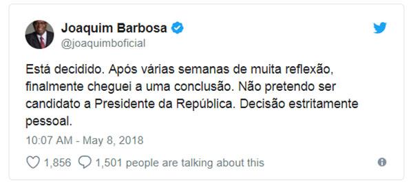 Joaquim Barbosa desiste de candidatura a presidência da República