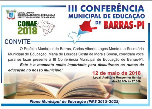 Governo de Barras PI vai realizar Conferência municipal de educação