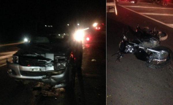 Colisão entre moto e caminhonete mata casal na BR-343