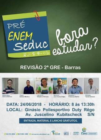 2° GRE de educação Barras PI promove Mega Revisão ENEM