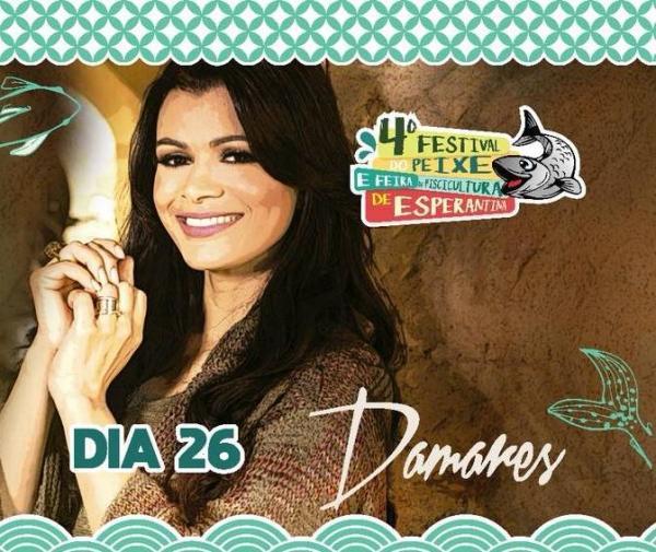 Damares e Luan Santana estão confirmados no Festival do Peixe em Esperantina