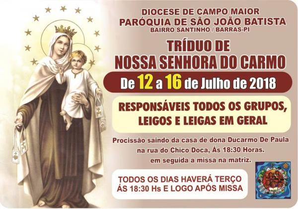 Paróquia de São João Batista anuncia o Tríduo de Nossa Senhora do Carmo.