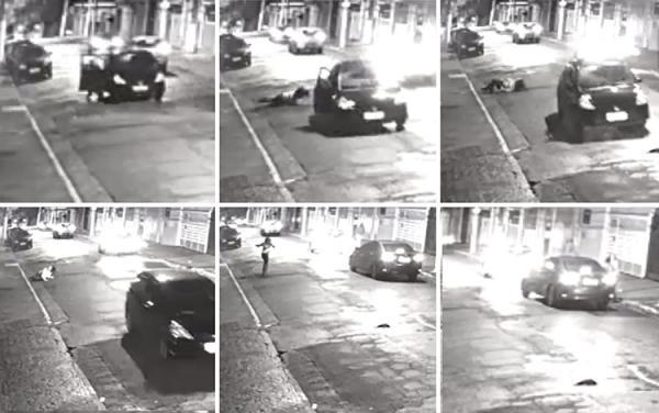 Mulher é sequestrada e pula de carro em movimento
