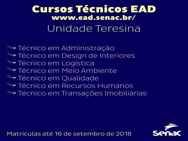 Cursos Técnicos EAD é no Senac!