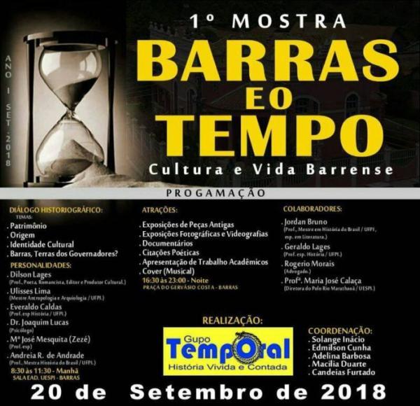 1ª Mostra Barras no Tempo será dia 20 de setembro