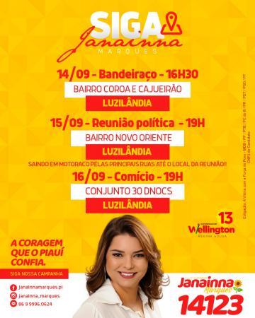 Candidata Janaínna Marques divulga agenda de reuniões em Luzilândia PI