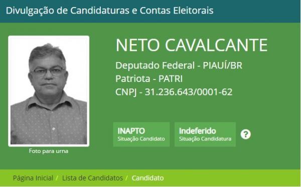Neto Cavalcante tem candidatura indeferida, mas pode recorrer ao TSE
