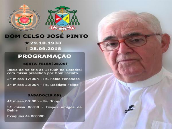 Dom Celso José, arcebispo emérito de Teresina, morre aos 84 anos