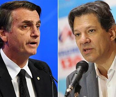Ibope mostra Bolsonaro com 59% dos votos válidos e Haddad, 41%, no 2º turno