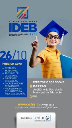 IDEB: já estão abertas inscrições para fóruns regionais de Barras e Piripiri