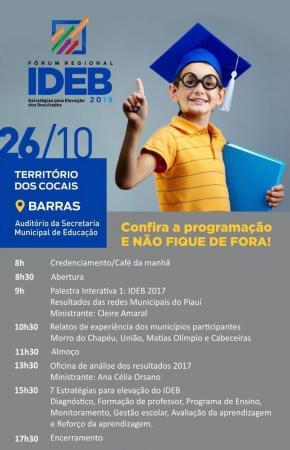 Fórum Regional sobre como avançar no Ideb será realizado nesta sexta em Barras