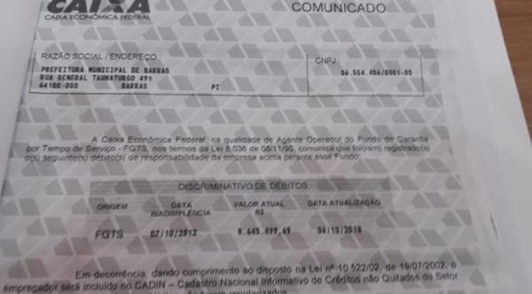 Dívida de 8 milhões relativos ao FGTS chega a PM Barras PI