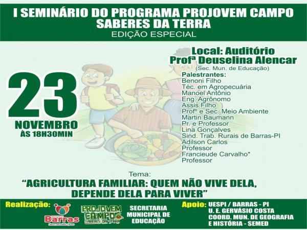 Prefeitura de Barras vai lançar o PROJOVEM Campo - Saberes da Terra / Edição Especial 2018-2010 em parceria com a UESPI/ BARRAS - PI