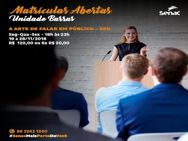 Curso 'A ARTE DE FALAR EM PÚBLICO' no Senac Barras