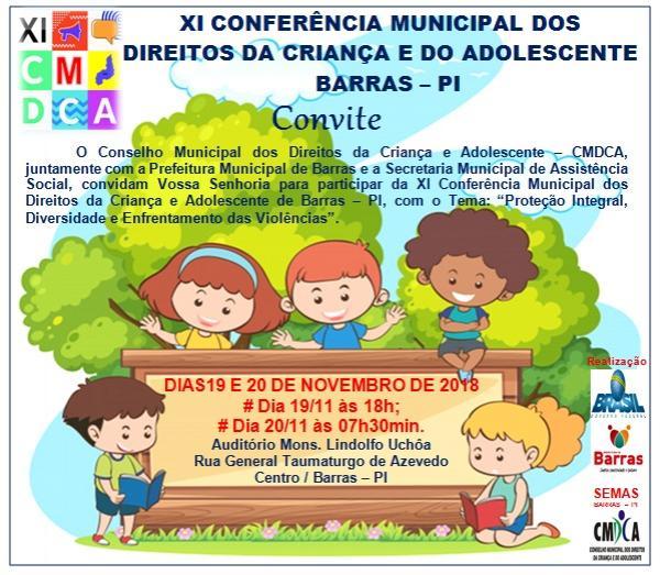 Conferência Municipal dos Direitos da Criança e do Adolescente será dias 19 e 20 em Barras PI