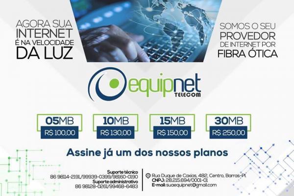 Equip Net é o único provedor de internet com fibra ótica em Barras PI