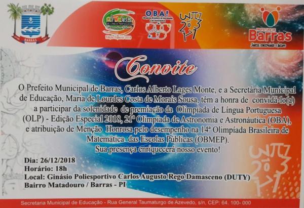 Solenidade de entrega de Medalhas da OBA, OBMEP e OLP acontecerá dia 26/12