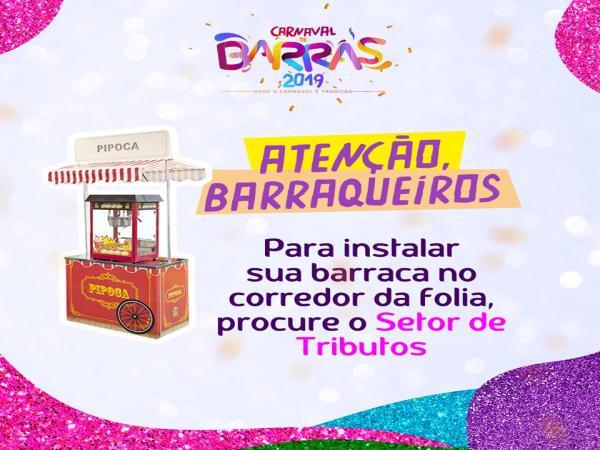 Prefeitura de Barras convoca barraqueiros interessados em trabalhar no Carnaval
